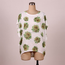Women's Casual Floral Printed Batwing Sleeve Loose Tops Tee Shirts