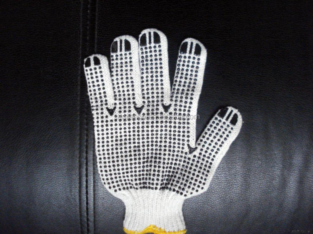 best selling 7gauge bleach white color wholesale price cotton hand glove PVC dotted glove