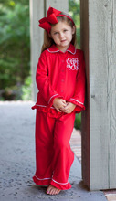 cheap wholesale children's boutique clothing kids wear china red girls pajamas set