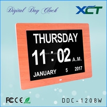 12 inch wooden wall clock year month day date for seniors elderly dementia alzheimer impaired vision DDC-1208W
