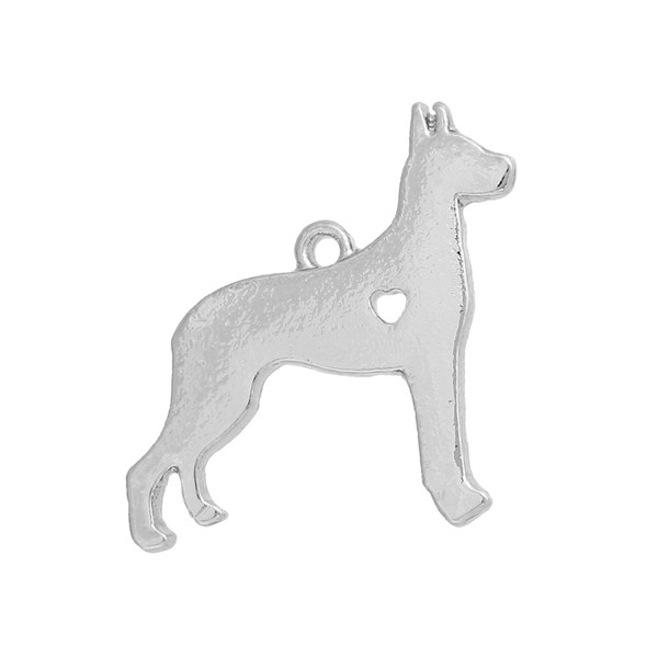 Zinc Based Alloy Pet Silhouette Charms Great Dane Animal Silver Plated The Dog Has My Heart HollowHeart Pendant Accessories