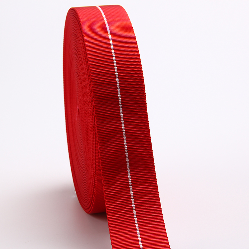 5cm red plain flat pattern tubular nylon webbing with striped high quality