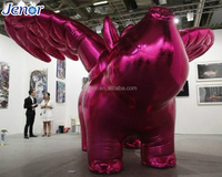 Giant Inflatable Cartoon Flying Pig with Wings for Exhibition Hall Decoration