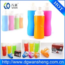 drinking collapsible water bottle / 2016 new products Eco-friendly silicone foldable water bottle as seen on tv