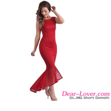 Women Red Tulle Fishtail Sleeveless Long Wedding Party Dress