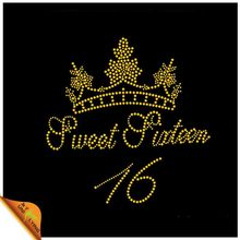 Bling Sweet Queen 16 Crystal Motif Iron On Beatiful Crown Rhinestone Heat Transfer For Garment