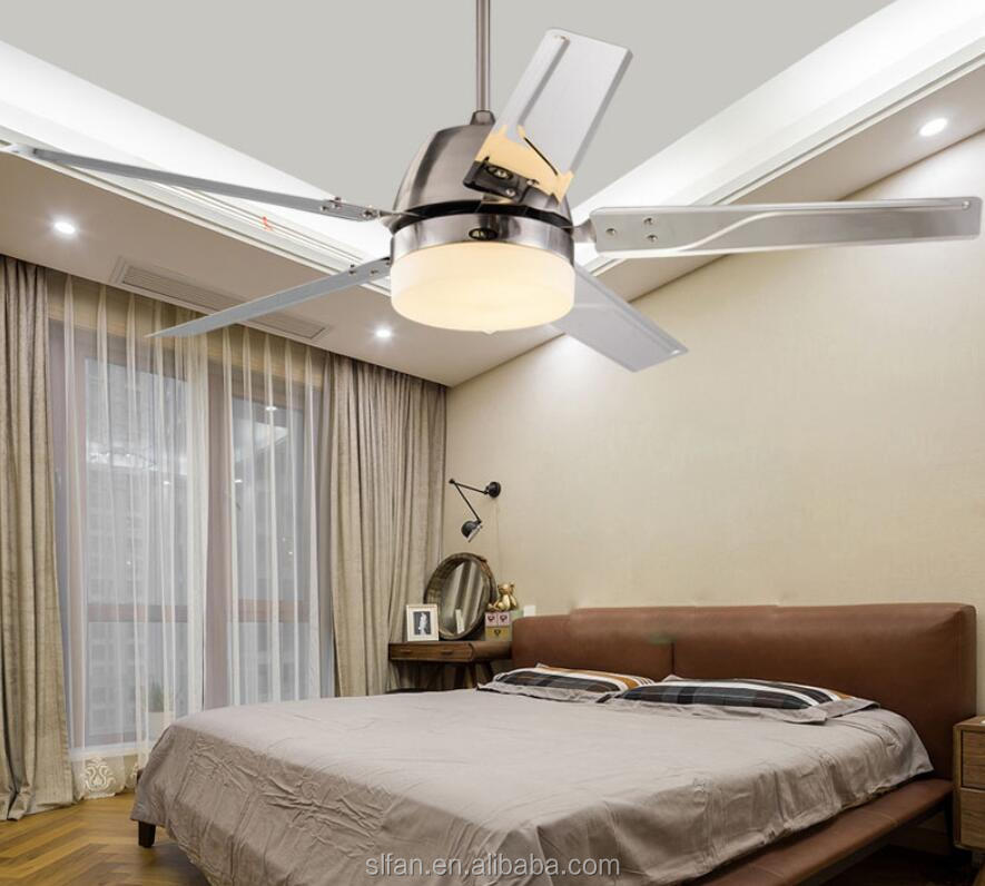 52 inch low power consumption ceiling fan with led light in brushed nickel finish remote control