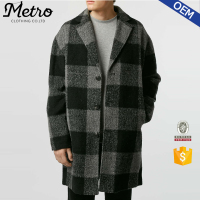 2016 New Stylish Black And Grey Long Wool Men Duster Coat With Pattern
