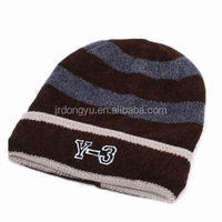 mens embroidered acrylic knit fold up beanie hats