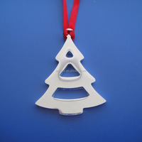 Promotional hollowed design christmas tree shape metal Christmas Ornaments