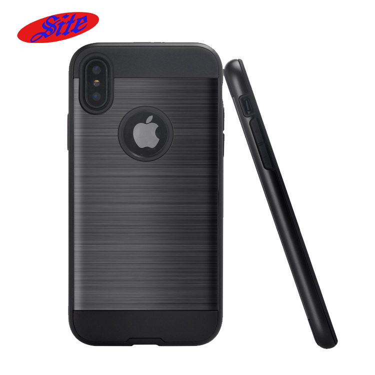 China Market Wholesale brush metal Cell Phone Case For iphone x ,Hybrid Heavy Duty Rugged Armor phone Cover For iphone x