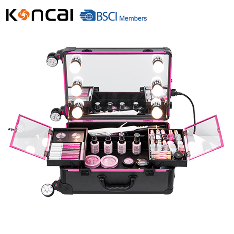 2018 Best selling Cabin size makeup case lighted case with mirror makeup trolley