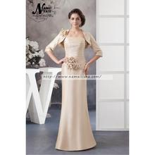 Two Pieces Champagne Mermaid Strapless Backless Floor Length Sleeveless Ruffle Hand Made Flower Mother of the Bride Dress Suits
