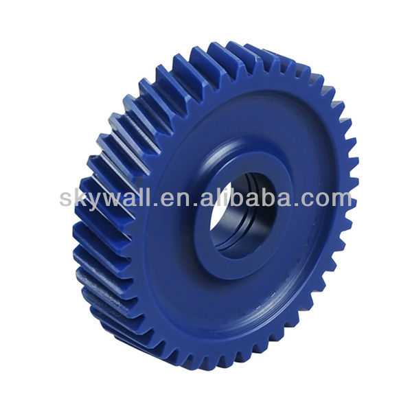 Durable plastic helical gear with hobbing service