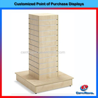 Creative custom design 4 sides wooden clothing display rack