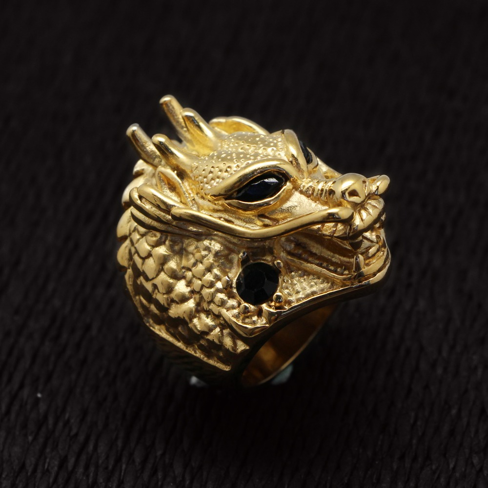 Crystal Stainless Steel Gold Plated Eternity Rings Huge Dragon Head Design Finger Ring