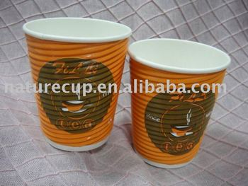 ripple wall 8oz paper cup coated with single pe