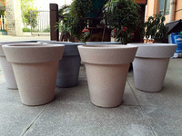 two color seperated painted frosted sand decorated plastic flower pot