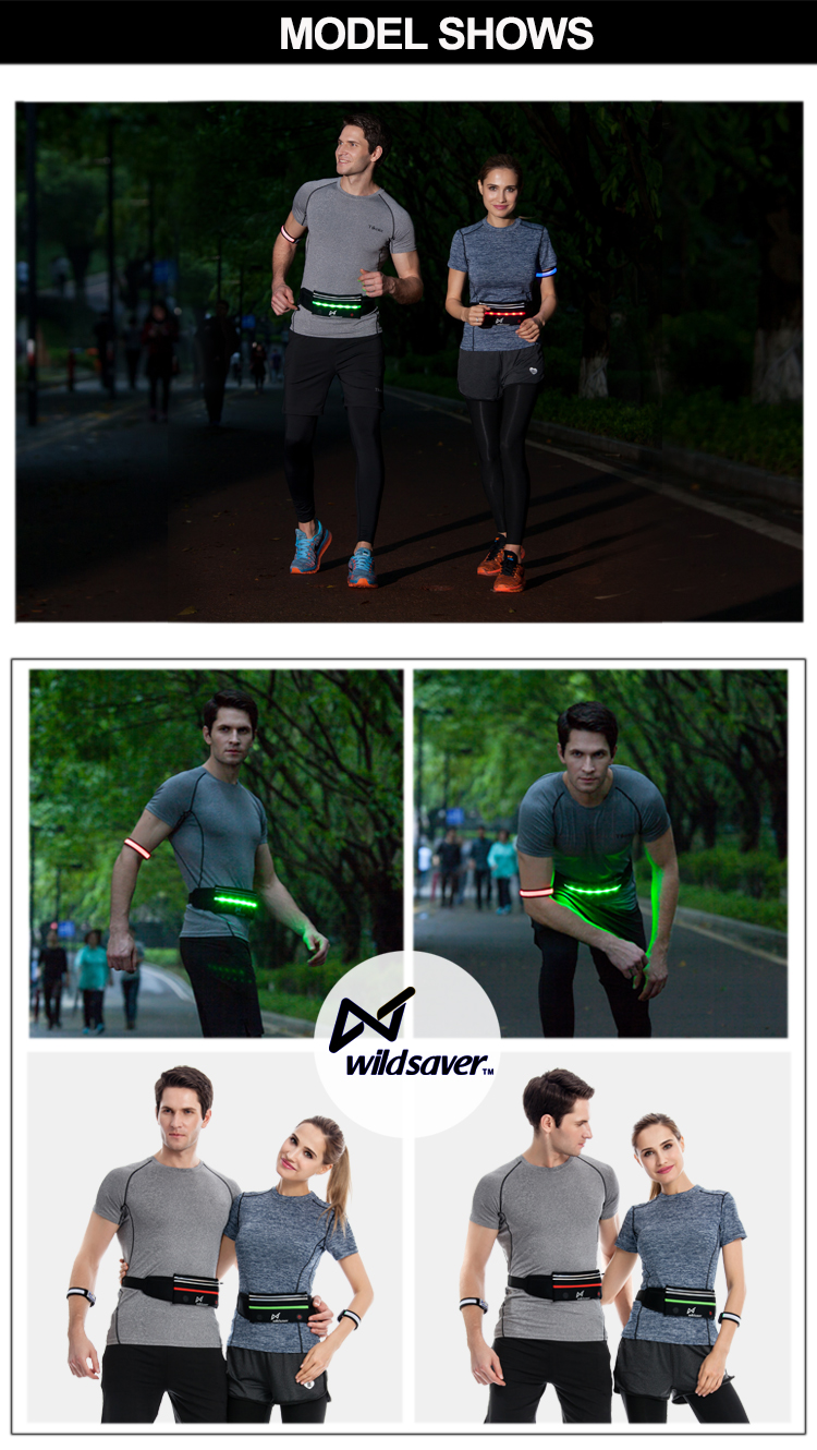 Best selling waterproof outdoor led reflective sport running belt for phone