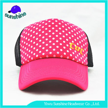 Personalized custom 5 panel baseball caps foam and mesh kids trucker cap with dot printing