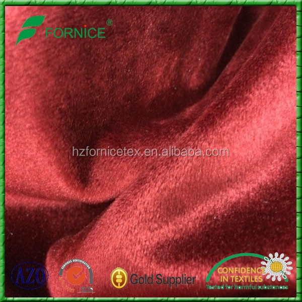 2015 latest 100% polyester soft and luxery red polyester velvet