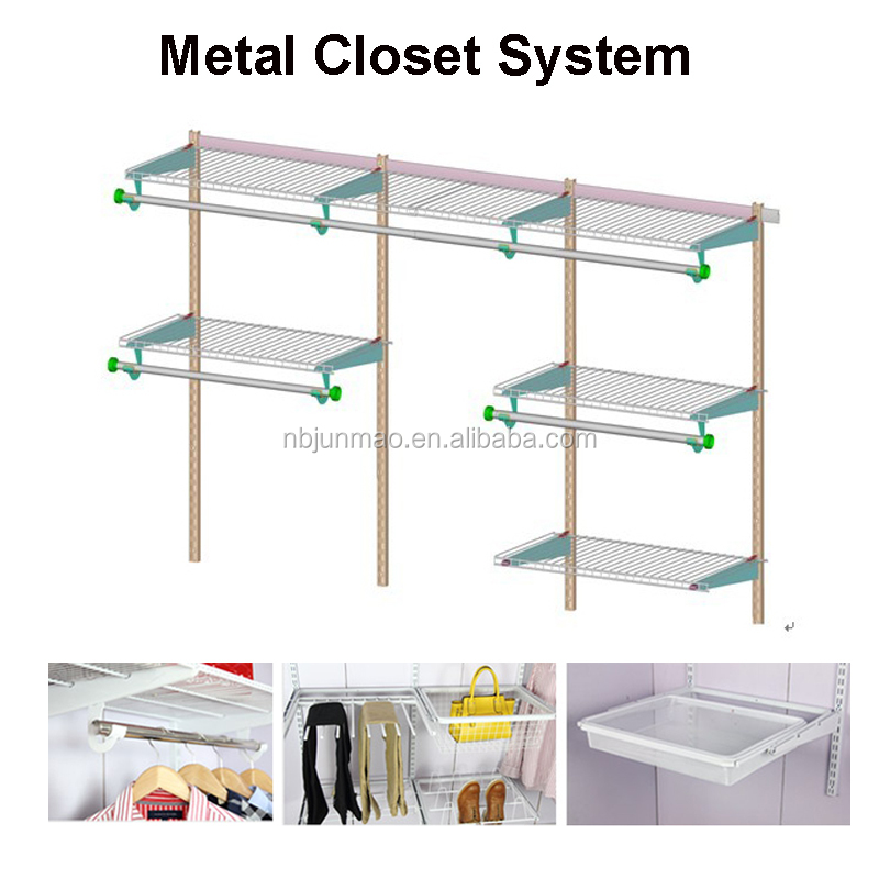Easy Installation Metal Clothes Wardrobe Shelf with Mesh Unique Portable Closet Storage Organizer Cheap 1