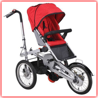 Pull and push child twins baby stroller bike