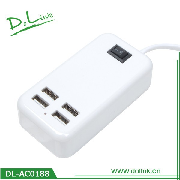 4 Port USB Home Travel AC Wall Charger Power Adapter US Plug For iPhone