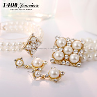 Beautiful design! T400 Necklace/Earring/Bracelet Jewelry Sets artificial pearl #S054