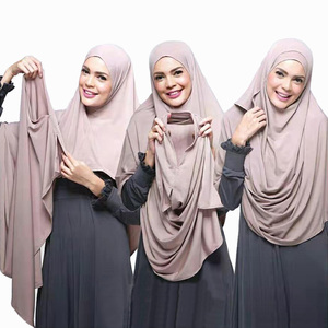 Popular 2019 New design national style for muslim women double loop jersey instant hijab