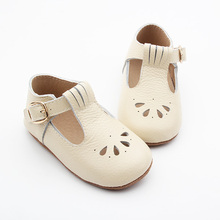 Wholesale Walking Skidproof Genuine Leather Fashion Tbar Baby Shoes