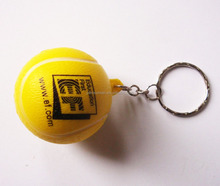 4cm diameter Cheap PU foam material tennis ball Keychain,soft tennis Keychain,able to print you logo
