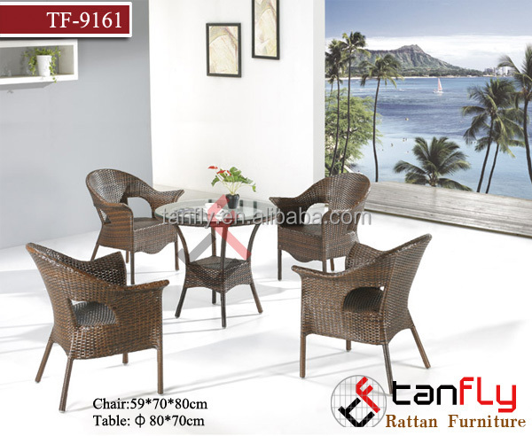 TF-9161 Great Nice all weather veranda resin rattan round wicker table and chair