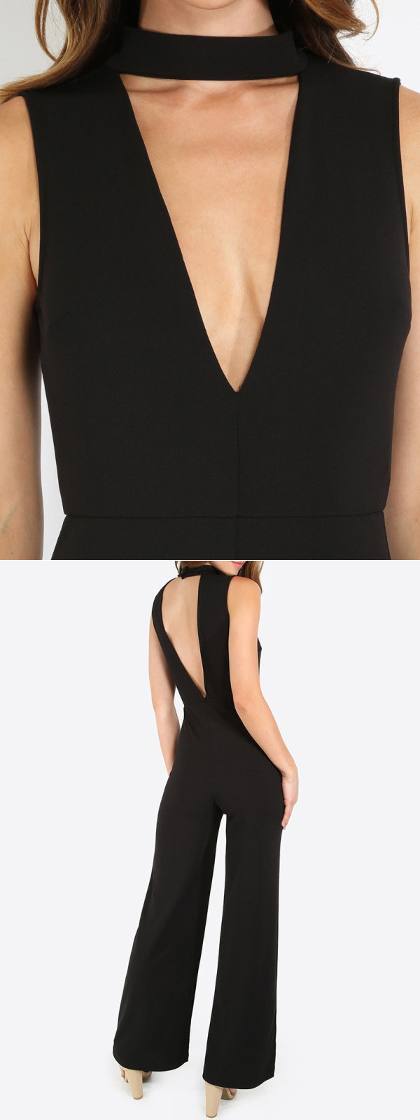 Sexy V Back Sleeveless Jumpsuit Women