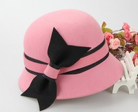 Wholesale new patry hats girls wool felt decorate cloche hat
