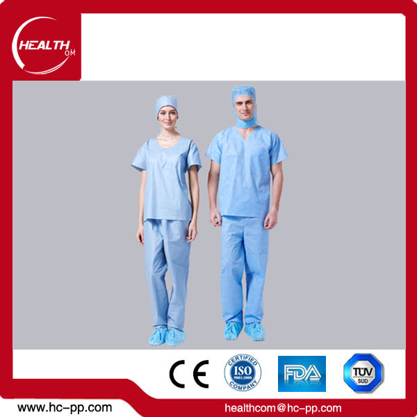 Manufacture Hospital Medical Nurse Scrub Uniform Ceil Blue Suit Women's Scrub Set