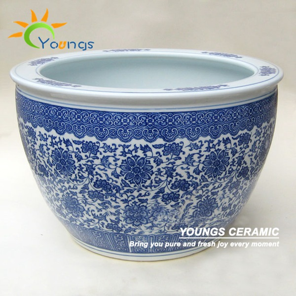 Beautiful large chinese blue and white ceramic planters
