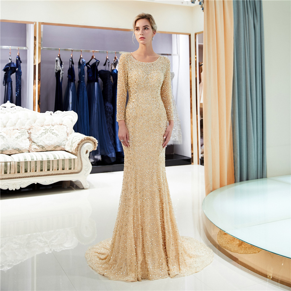2018 Women Party Gown Evening Gold Rose Sequin Evening Dress Long Sleeves Backless Evening Dress