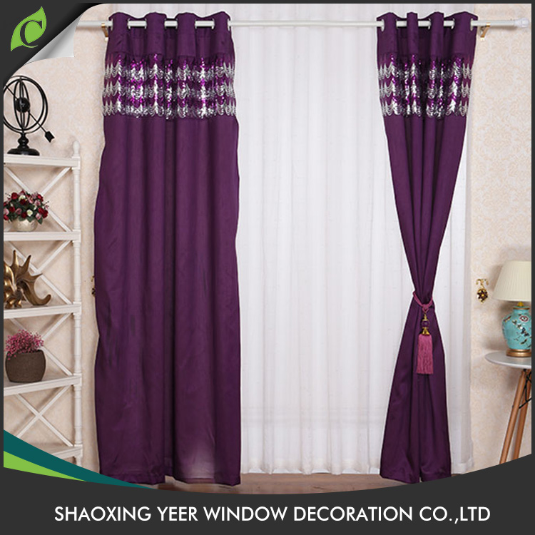 Simple design Chinese bedroom sequin window curtain for living room