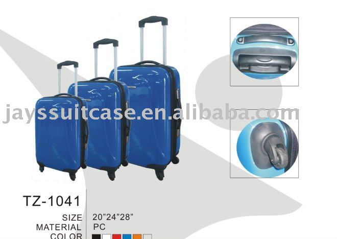 Spinner hard shell trolley luggage/abs+pc trolley luggage
