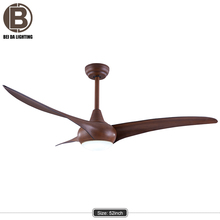 "52"" Modern European Retro Nordic Brown DC Lighted w/ Remote Control Ceiling Fan"