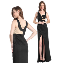 Online shopping formal celebrity gown black slit evening dress for women