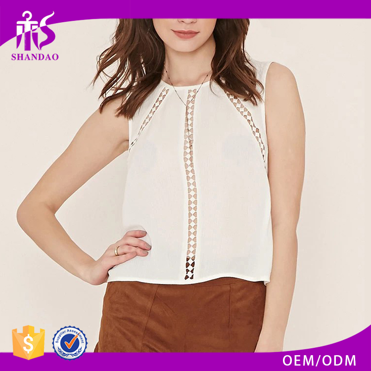 2016 guangzhou shandao high quality summer new design casual sleeveless lace patchwork women western tops