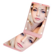 Hollywood Vanity Square Shape Girl Double Side Makeup Mirror With LED Light For Bedroom