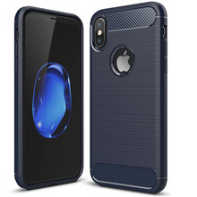 Carbon Fiber Pattern Brush TPU Phone Case For iPhone X TPU Back Cover Shockproof