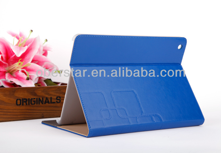 2014 New Crazy Horse Grain Knurling Coining Emboss PU Leather Stand Cover case For Apple ipad 2/3/4
