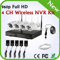 hd camera WIFI NVR system Shenzhen Wireless NVR Kits Rohs H.264 Cctv Camera Dvr Kit 4ch 960P Outdoor hd IP Wifi Camera