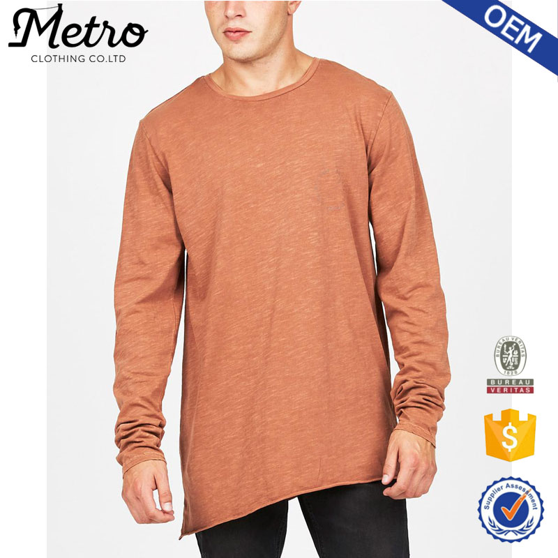 Cheap New Style Raw Hem Knit Long Sleeve Rust Colour T Shirts