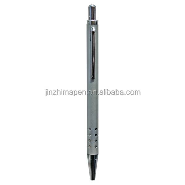 Silver hole ,2014 new products metal ball pen offce logo stationery pen gift supply