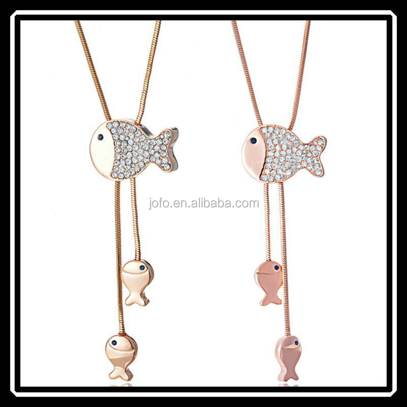 Korean Design Happy Small Fish Extra Long Adjustable Fish Rhinestone Sweater Chain For Young Lady